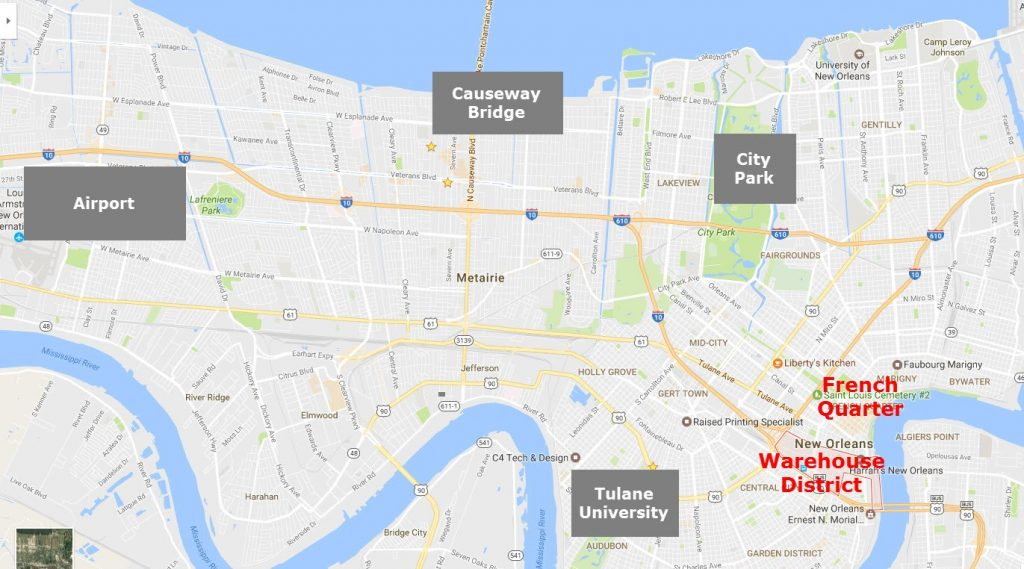 new orleans map showing french quarter